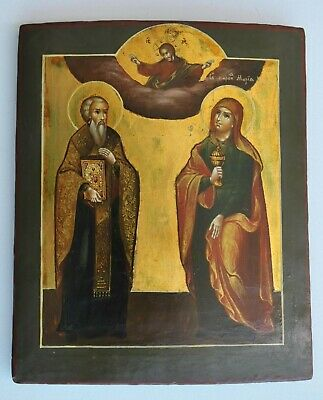 19c RUSSIAN IMPERIAL ORTHODOX RELIGIOUS ICON MARY MAGDALENE EGG TEMPURA PAINTING