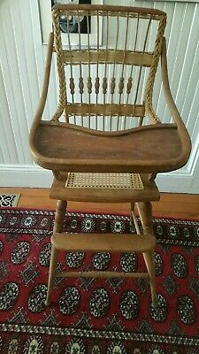 Antique High Chair with Cane Seat