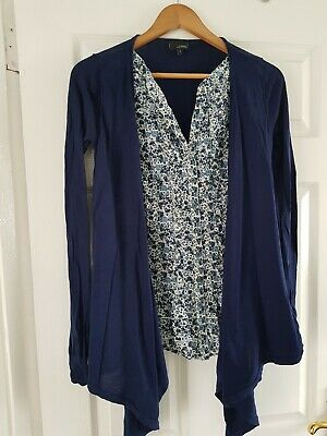 Next Maternity Two In One Shirt And Waterfall Cardigan Work Wear Size 8