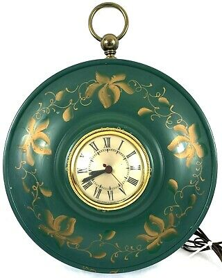 """Vintage Sessions Electric Tole Painted Wall Clock Green Gold Floral 11"""""""