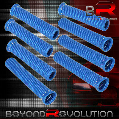 For Toyota 8-Piece Heat Shield Wrap Slip On Spark Plug Wire Insulator Unit Blue