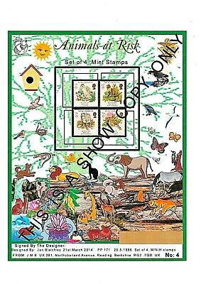 2,Gb Mnh Stamps 1,Fdc & 1, A4 Design Lami Sheet Animals At Risk 1986 & Gifts (4)