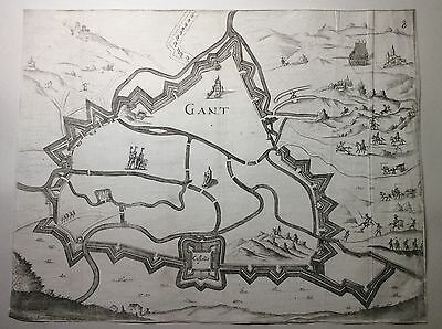 Original 17th 18th Century Map or Plan of The Fortified City of Gant (Ghent).
