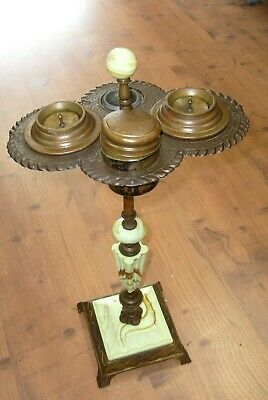 Antique Ornate  Art Deco Smoker Stand 1930's ? Glass and metal - Pittsburgh Pa.