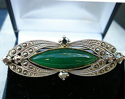 ART DECO SUPERB BROOCH LARGE OPAQUE GREEN CABOCHON & MARCASITE Vintage 1920s