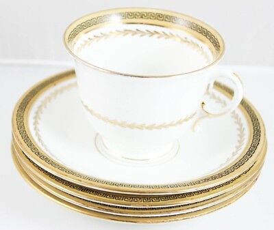 4 Sets Cup Saucer & Creamer Vintage English Bone China E&Bl Duchess Gold Laurel