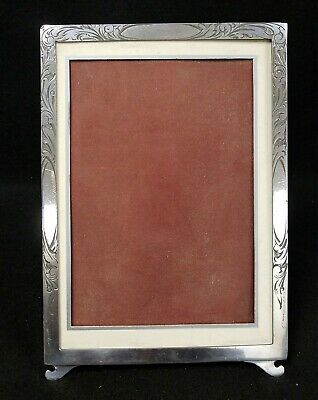 "Antique Silverplate Beautifully Engraved Picture Frame - Holds 5"" x 7"""