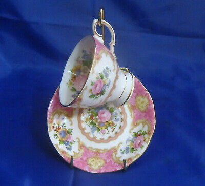 Royal Albert Lady Carlyle Footed Cup & Saucer - Hampton Shape, Gold Rim, Floral