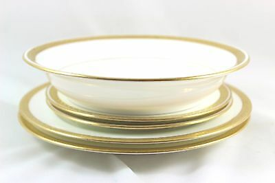 6 Pcs Antique Minton China H1916 Plates, Bowl Raised Gold Encrusted Laurel White