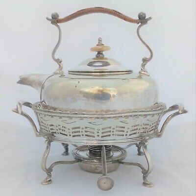 Antique Silver Plated Ambleside Spirit Kettle and Stand Deakin and Sons c 1880