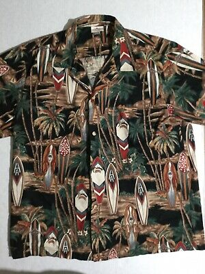 d03b056d Aloha Republic Men's Hawaiian Shirt with Surfboards and Palm Trees Size  Large