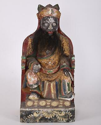 Antique Chinese Lacquered Carved Wood Imperial Figure Seated on Dragon Throne