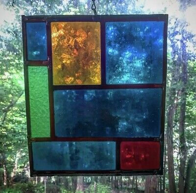 Architectural Salvage Leaded Stained Glass- Mid century Modern, Geometric