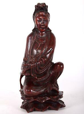 Chinese Carved Rosewood Statue of Kwanyin Seated Double Lotus Pedestal Guanyin