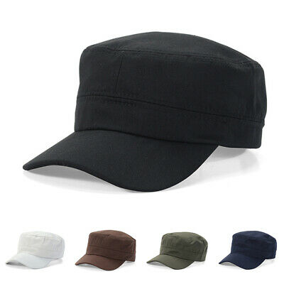 Mens Mesh Military Soild Plain Baseball Outdoor Cadet Hat Sunshade Flat Army Cap