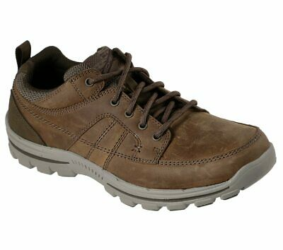 Skechers Brown shoes Men Memory Foam Leather Lace Up Casual Comfort Oxford 65580