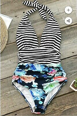 8c1eb6745c Women's Bathing Suit One Piece Floral Stripes Cupshe NWT Small Neck Tie  Strap