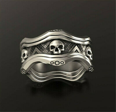 Vintage 925 Silver Skeleton Skulls Band Women Men Wedding Jewelry Ring Size 5-10