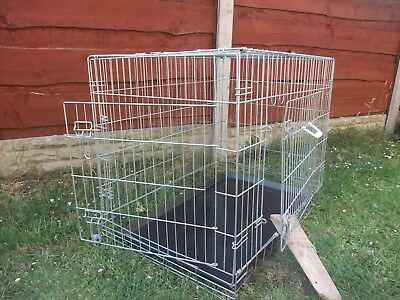 "dog crate height 29"" width 24"" length 36"" 2 door with tray foldable"