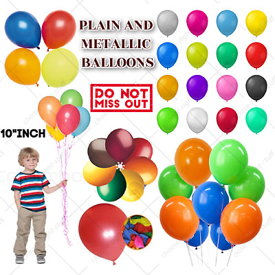 "10"" Large Latex Pearlised Birthday Wedding Party Baloons Ballons Plain Balloons"