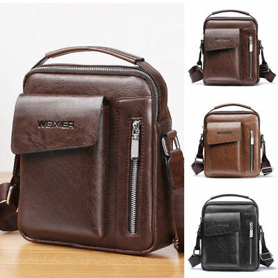4c37c88048 Vintage Men's Leather Casual Messenger Bag Cross-body Tote Handbag Shoulder  Bag