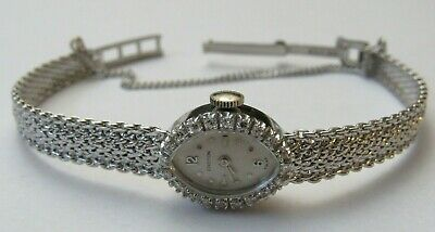 Gorgeous Croton 14K Solid White Gold & Diamond Ladies Art Deco Vintage Watch
