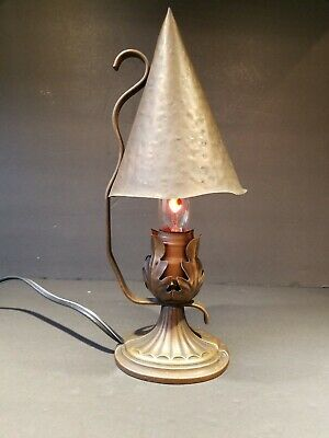 1900 - 1910's Art & Crafts Mission Stickley Era Hammered Copper Lamp