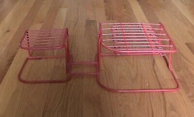Vintage Coated Heavy Wire Dish Plate Cup Hanger Rack Red Kitchen Space Saver