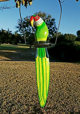 """Great Green 19"""" Handcarved & Painted Wood Hanging Parrott W/ Metal Perch & Hook!"""