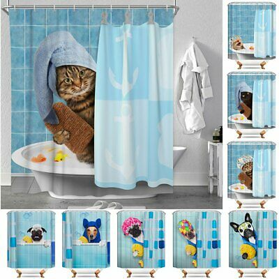 Funny Bathing Cats & Dogs Polyester Waterproof Bathroom Shower Curtains 12 Hooks