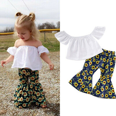 Toddler Girls Off Shoudler Tops+Sunflower Flared Pants 2PCS Outfits Clothes 1-5Y