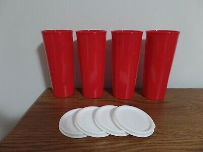 Tupperware Tumblers 16 oz - Christmas Red with White Seals - Set of 4 ~ NEW