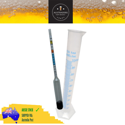 Hydrometer and 100ml Measuring Cylinder, Homebrewing, Fermenting, Beer