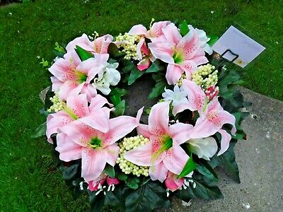 Large Lily Silk Flower Wreath Ring Realistic Funeral Grave Arrangement Tribute