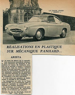"article revue d'époque Mars 1955 PANHARD plastique "" ARISTA "" ADVERTISING PAPER"