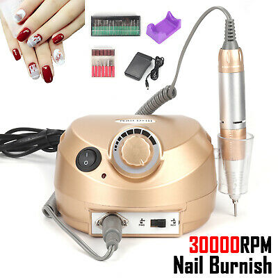 30000RPM Golden Electric Manicure Pedicure False Nail Art File Drill Machine UK