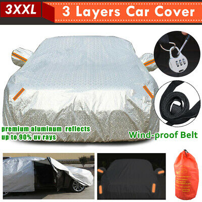 3XXL 3Layers Double Thick Waterproof Car Cover Rain Resistant UV Dust Protection