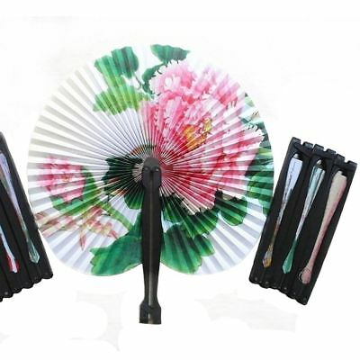 3pcs Paper Folding Chinese Oriental Floral Hand Fans Wedding Table Favours Gift