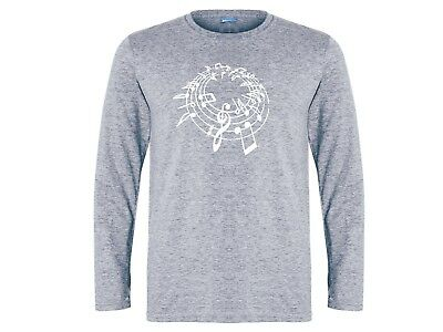 Music notes great musician gifts gray 100% cotton graphic long sleeves tshirt