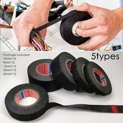 4 rolls adhesive cloth tape electrical wiring harness loom wire cable felt  tape