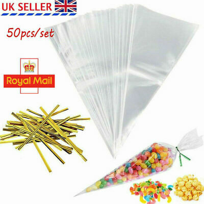 50pcs Clear Party Gift Chocolate Sweet Popcorn Candy Cello Bags Cellophane UK