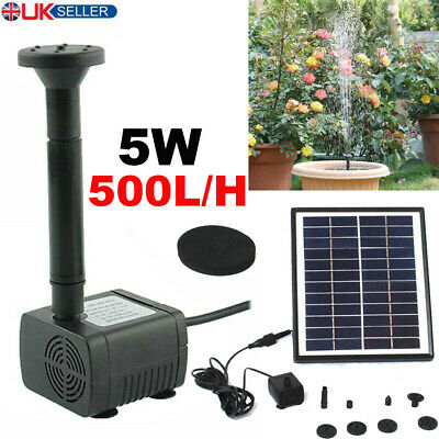 500L/H Solar Feature Fountain Submersible Water Pump Outdoor Garden Pool Pond 5W