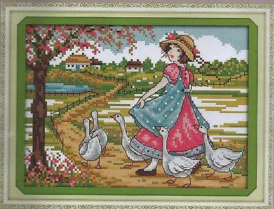 Counted Cross Stitch Kit, Of Girl With Geese