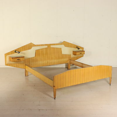 Bed with Hanging Nightstands Maple Skai Brass Glass Vintage 1950s-60s