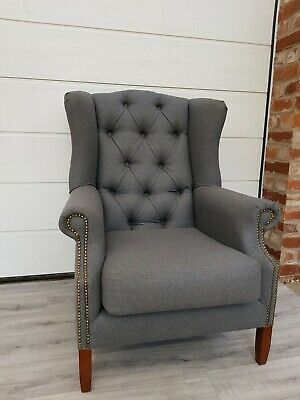 #SALE# Grey Tweed Buttoned Back High Back Wing Chair/ Fireside Armchair