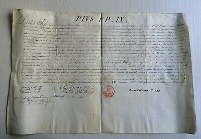 LAC VERY RARE PAPAL BULLA Parchment Vellum 1859 AN XIII in name of Pope PIUS IX