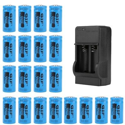 20pcs 3.7V 9900mAh Li-ion Batteries Battery Charger 16340 18650 Large Capacity