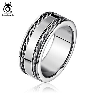 Women Men Stainless Steel Ring 8mm Punk Biker Unisex Ring Jewelry Party Gift