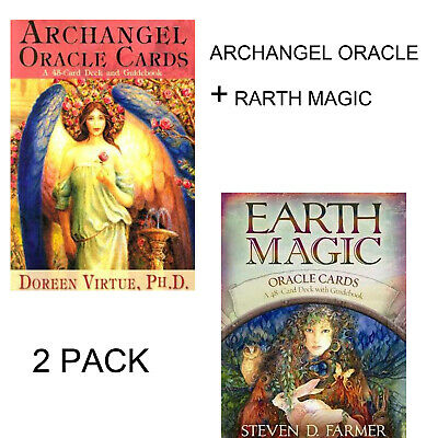 2Pack Archangel Oracle+Earth Magic Oracle Cards 45+48 Cards Combined English