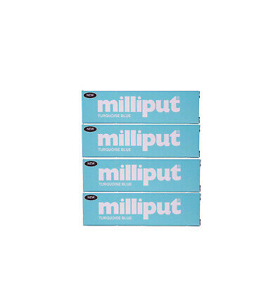 4 Packs of NEW! Turquoise Blue Milliput Epoxy Putty Modelling, Sculpting. X8174c